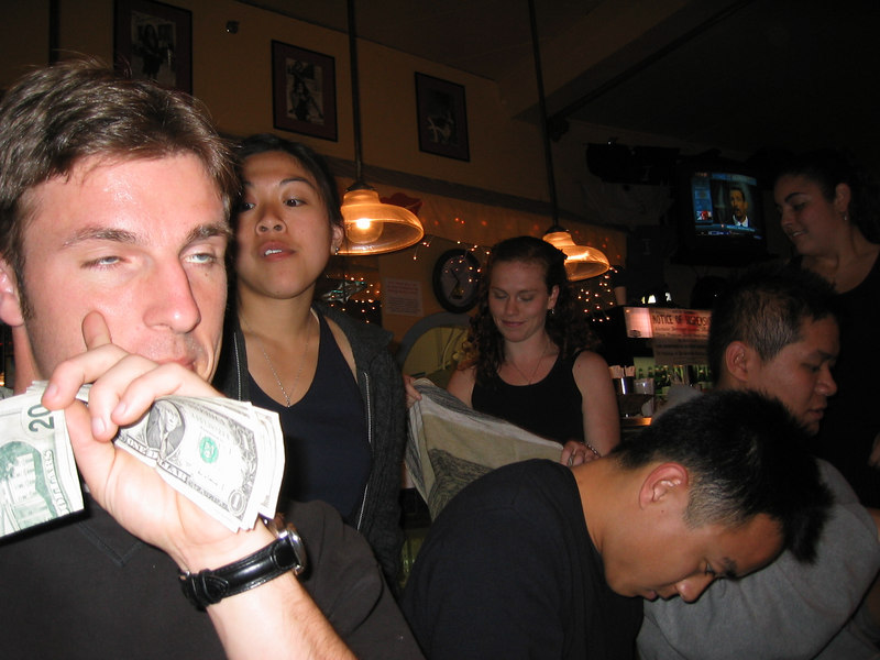 2003 - Cheryl Chan checkin' out zombie Steve Child's bills