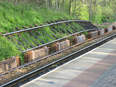 Old track panel and new steel sleepers - Digby and Sowton 11th April 2004