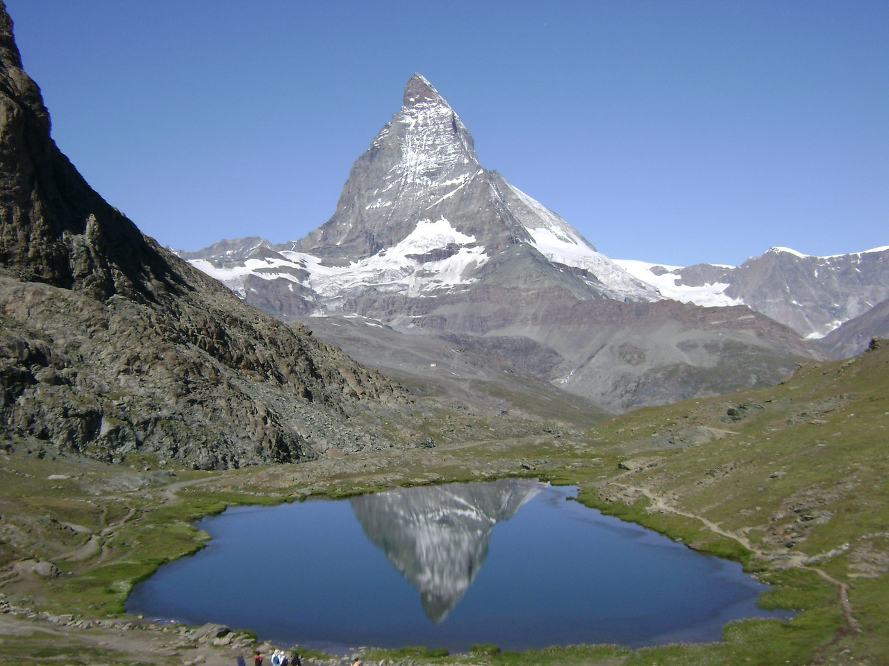 z The distinct tower of the Matterhorn is seen all over the area