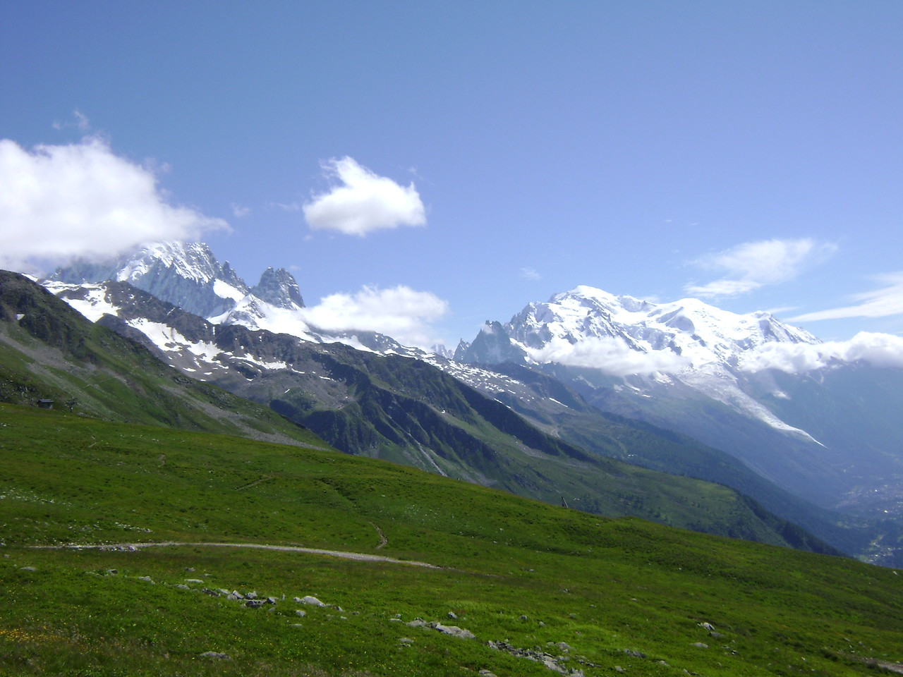 2 leaving the green fields of France and Mont Blanc for the alps of Switzerland