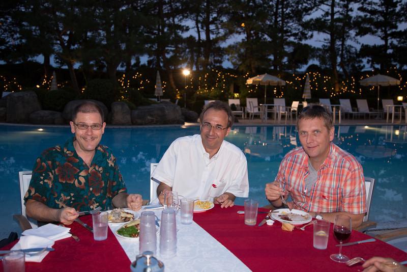 Three cool guys enjoying the dinner.
