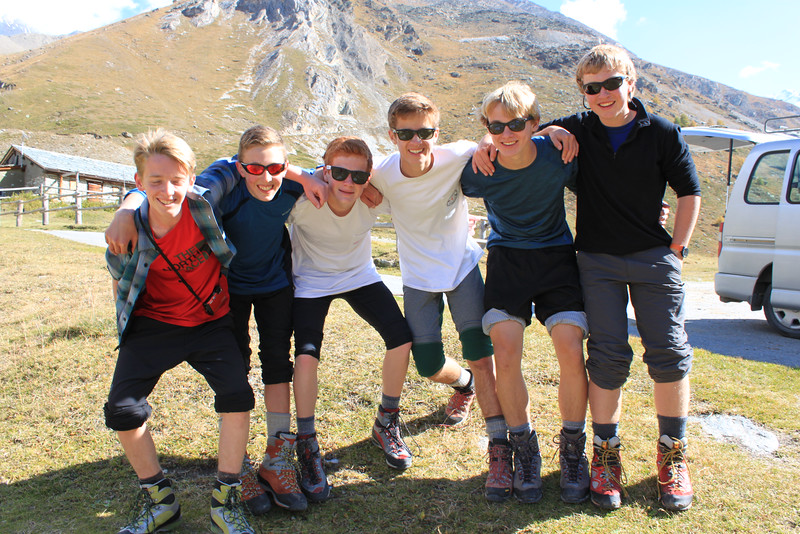 Harry, Nick, Charlie, Whit, Rives, and Aidan down at Tashalp after climbing Alphubel