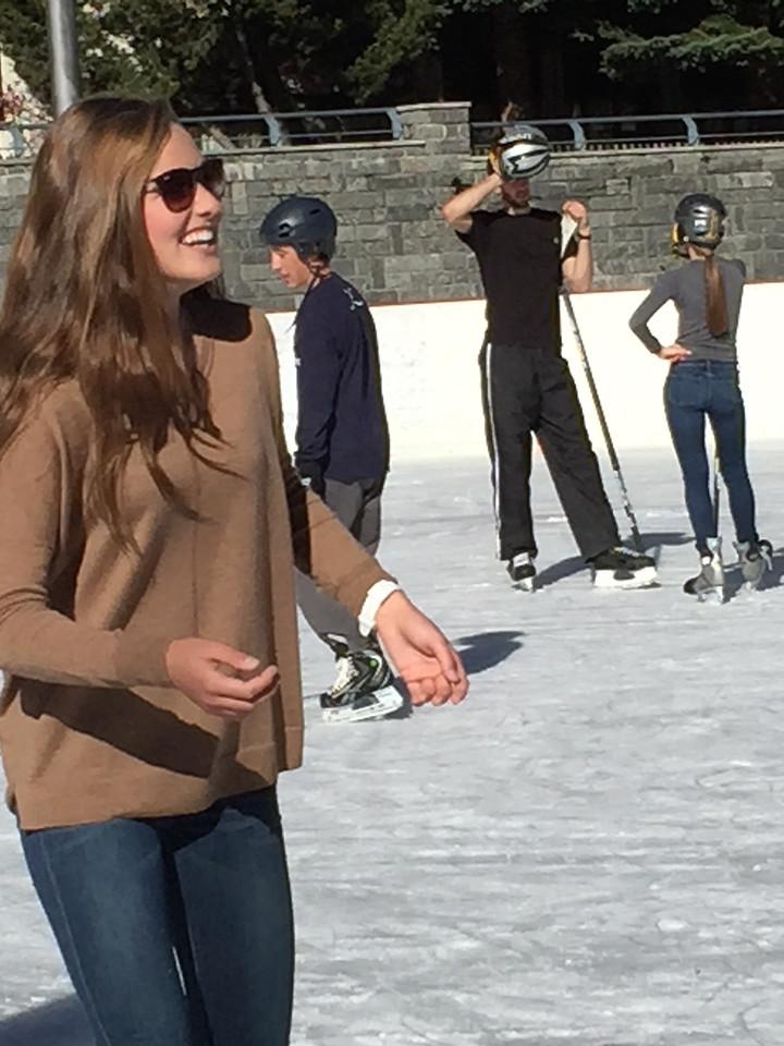 Cecelia enjoying a spectacular day on the hockey rink in Zermatt