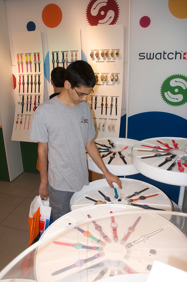 Adil selecting a Swatch