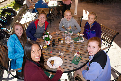 Lucy, Hayden, Ema, Marin, Paige, and Kiersten eating dinner at Riffelalp