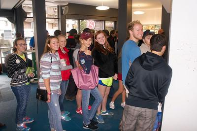 Samantha, Catherine, Marin, Paige, Merritt, and Blake getting their passes
