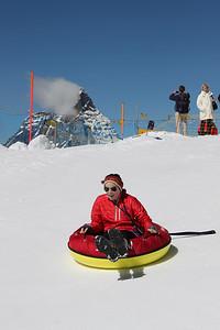 Janie going tubing at Klein Matterhorn
