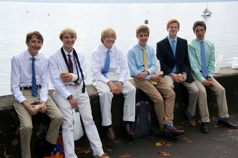 Gabe, Rives, Holmes, Whit, Charlie, and AJ on Lac Leman