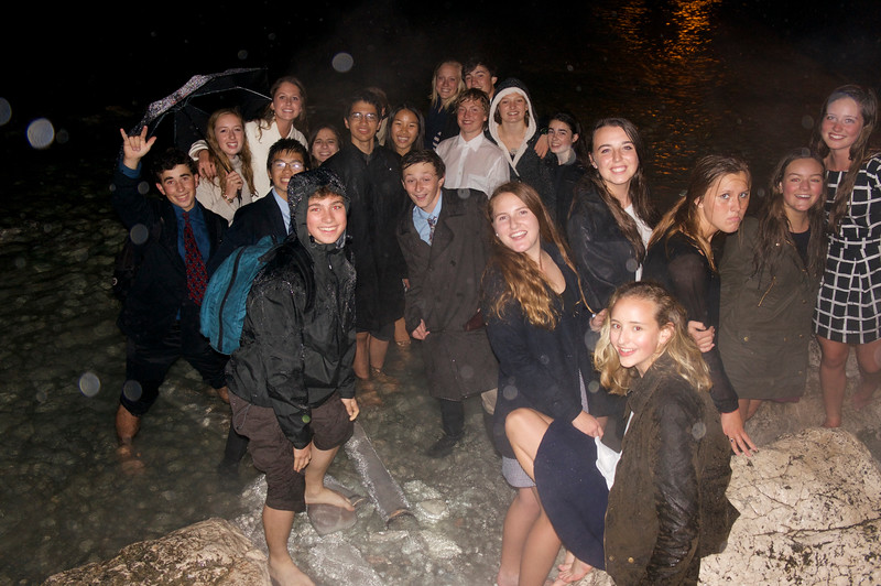 A group of Swiss Semester students enjoying Lake Garda and the rain in Sirmione, Italy
