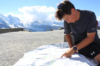 Lucas studying his map at Gornergrat