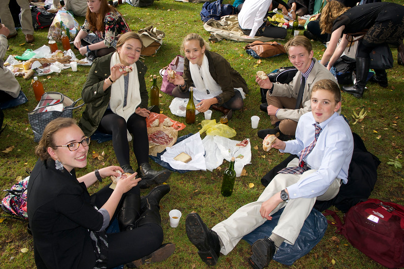 Samantha, Catherine, Paige, Harry, and Nick sharing their lunch makings from the market