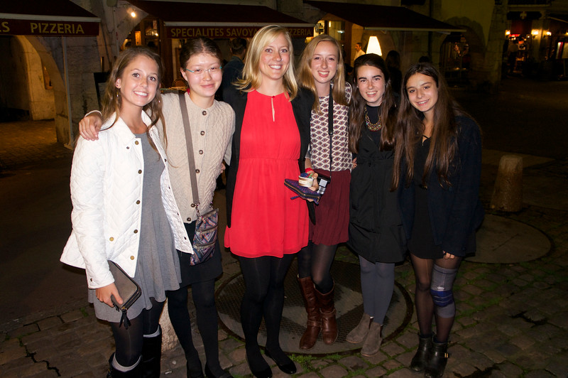 Maggie, Allison, Ms. Geringer, Lucia, Janie, and Katerina after their advisor dinner in Annecy