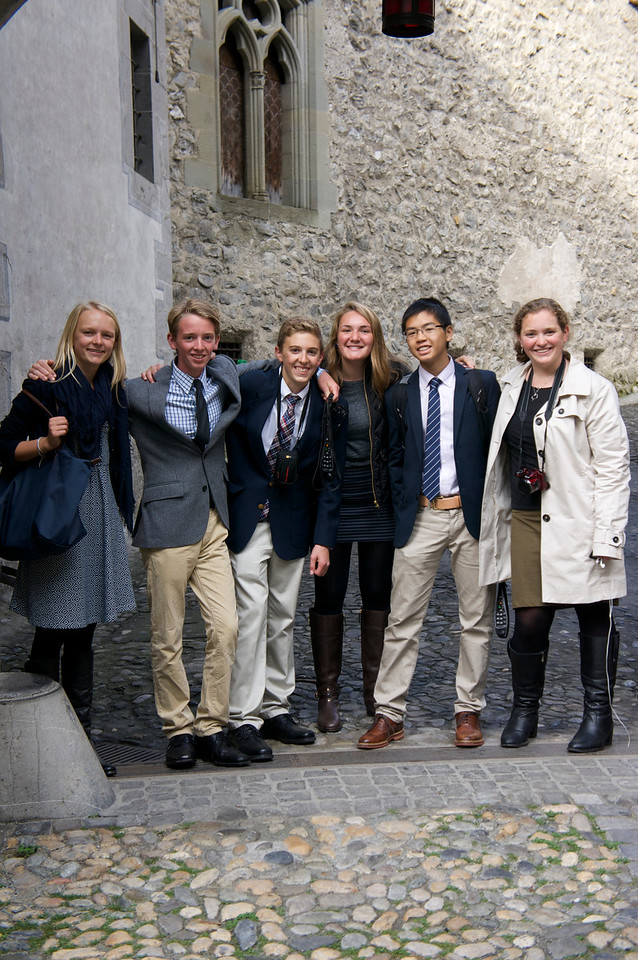 Marin, Harry, Nick, Ema, Ryan, and Catherine in the Château du Chillon
