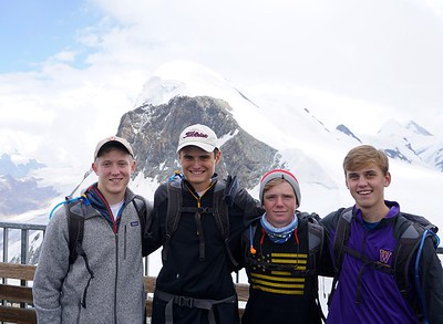 John, Matthew, Landen, and Billy in front of Breithorn
