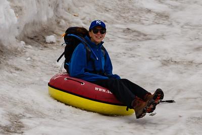 Emily sledding up at Klein Matterhorn