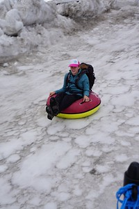 Abigael looking nice and relaxed sledding at Klein Matterhorn