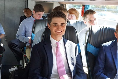 Matthew in the bus with Fraser, Lachlan and Henry surrounding