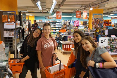 Lily, Ellory, Sophia, and Paige with their supplies