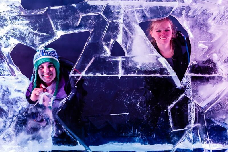 Lilli and Cross in the Glacier Ice Cave up at Klein Matterhorn