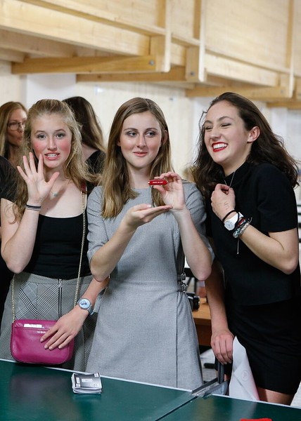 "Lily, Phoebe, and Caroline showing off the jackknife ""Shape up"" that they won"