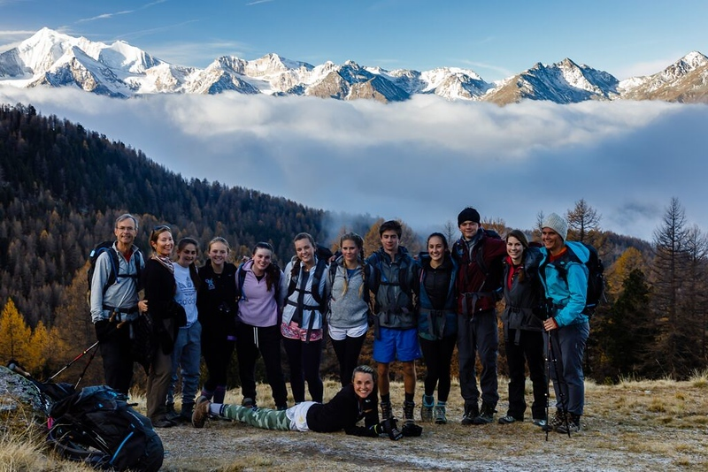Hiking group on the way to the Simplon Pass