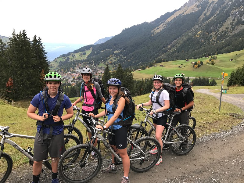 Sam,  Ms. van Zalinge, Samantha, Annika, and Filippo with Wengen (where they spent the night) in the background