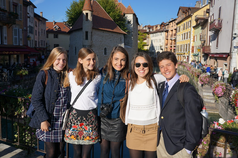 Lily, Phoebe, Liz, Flavia, and Ridley in Annecy