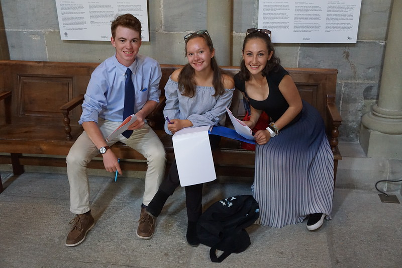 Ryan, Kalindi, and Caroline at the Cathedral in Lausanne