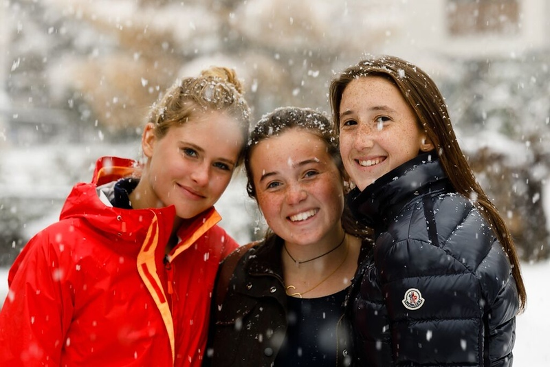 Sarah, Sophia, and Bailes enjoying our first snowfall in Zermatt (today)
