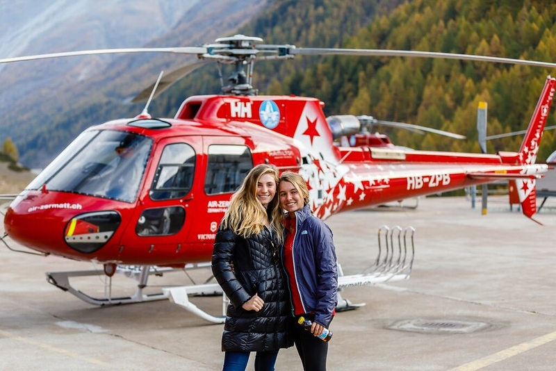 McAuley and Camille at the helipad before their flight during Parents' Wekend