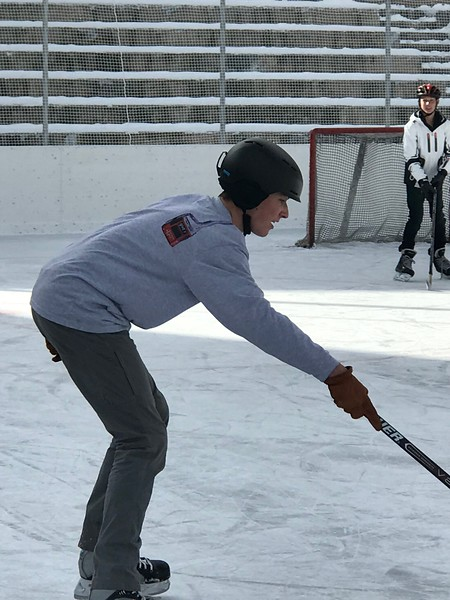 Liam playing hockey in Zermatt