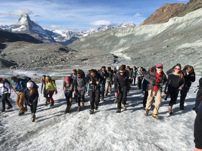 Hiking on the Findeln Glacier with the Matterhorn in the background