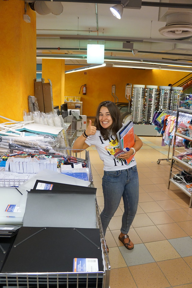 Flavia getting supplies at Migros