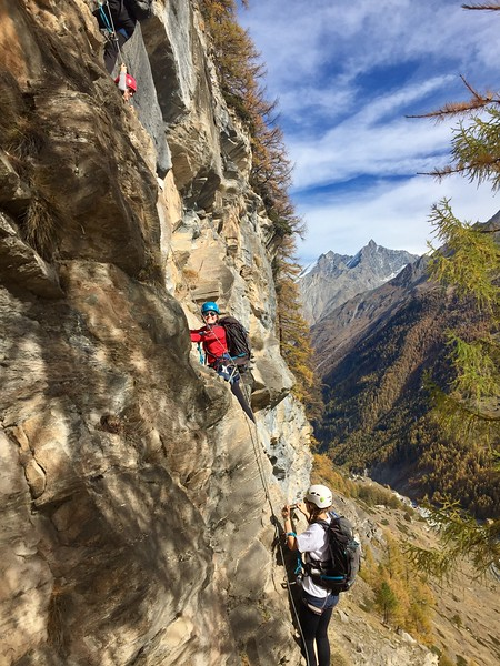 Annika climbing the via ferrata