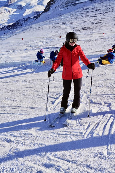 Celeste on the ski slopes