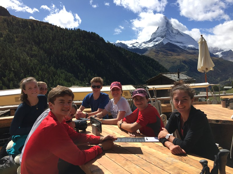 Having a little dessert at Chez Vroni after a short hike (Ilias, Hanna, Jordan, McAuley, Josh, Annika, Marco, and Ms. Simon)