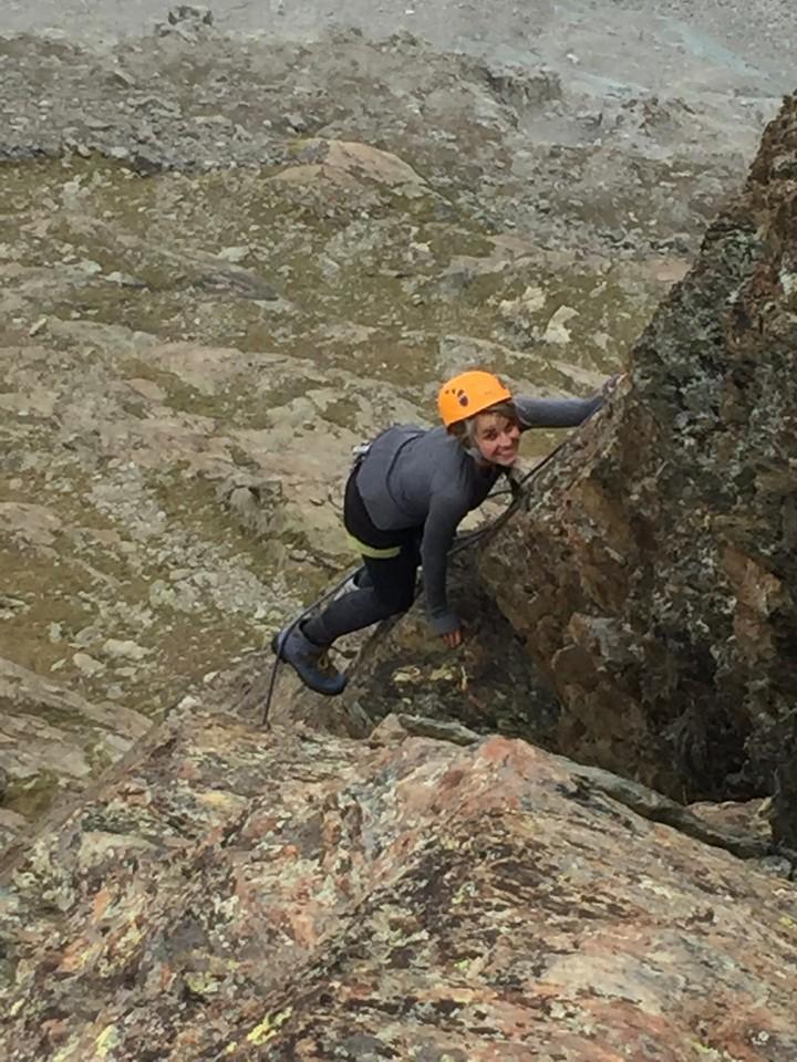 Brooke climbing Riffelhorn