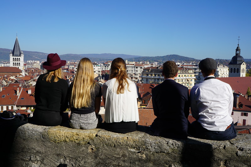 Annika, Sarah, Shea, Will, and Sam looking out over Annecy