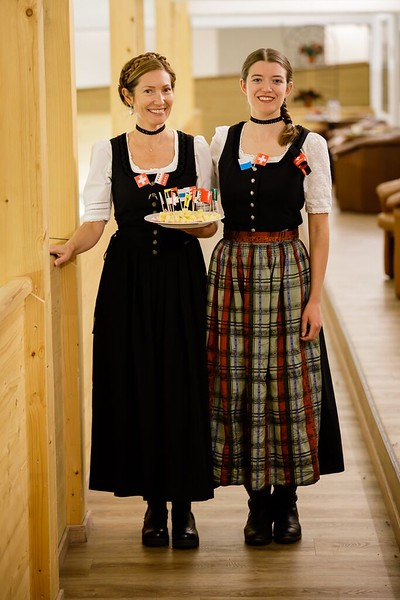 Ms. Brouillac and Ms. Barshi in traditional Swiss attire