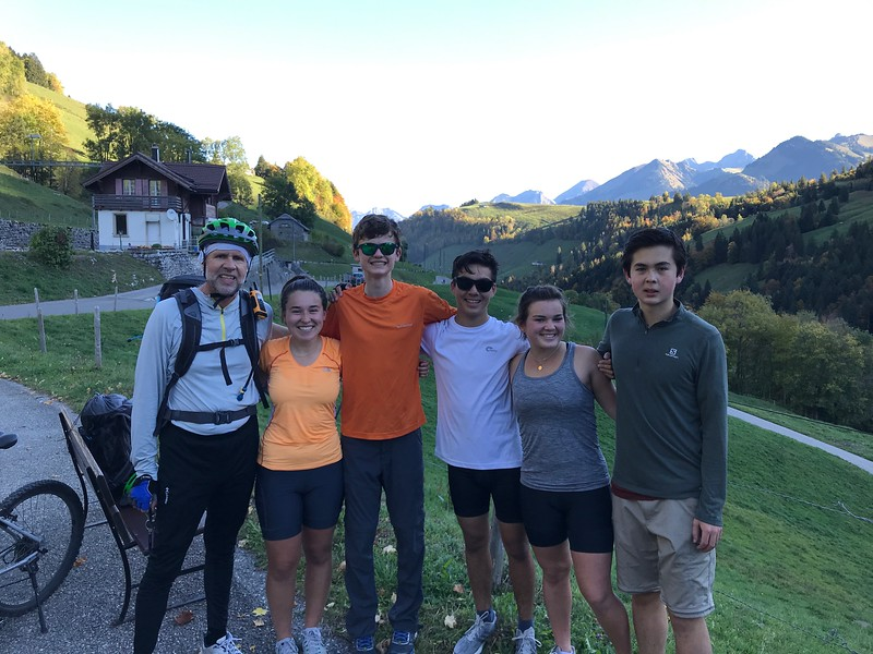 Gruyères Bike Trip after the second long uphill (still smiling)