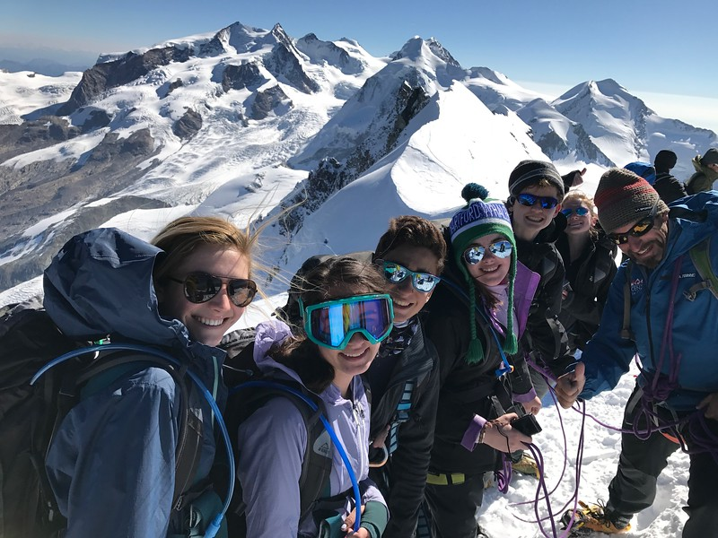 McAuley, Ivy, Filippo, Lilli, Ilias, Sarah, and Swiss Guide Thomas