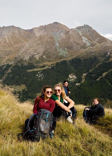 Dasha, Shae, Dani, and Celeste on the Trift Hut hike