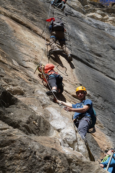 Will and Kalindi climbing on the Via Ferrata in Zermatt