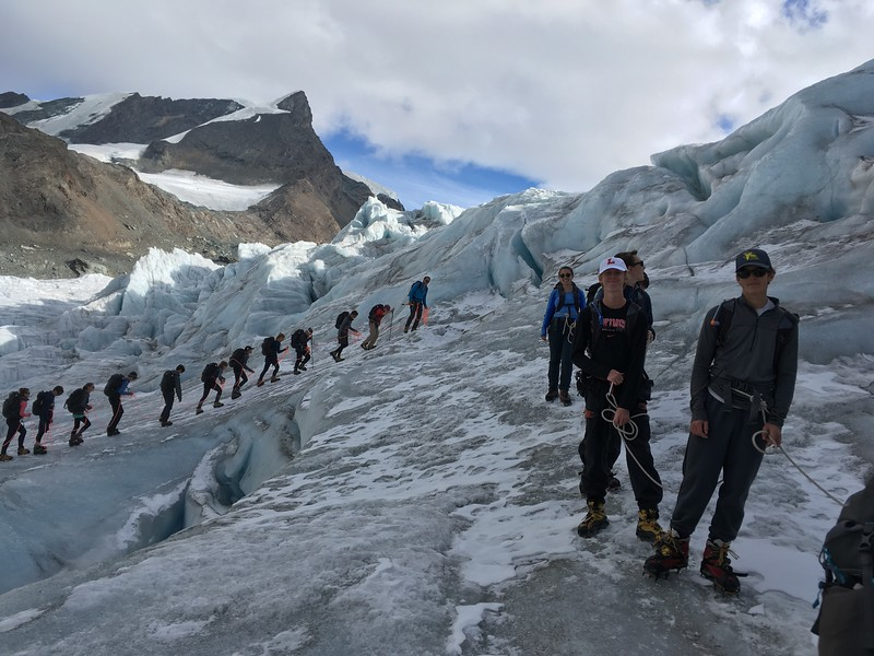 Walking on the Findeln Glacier with crampons