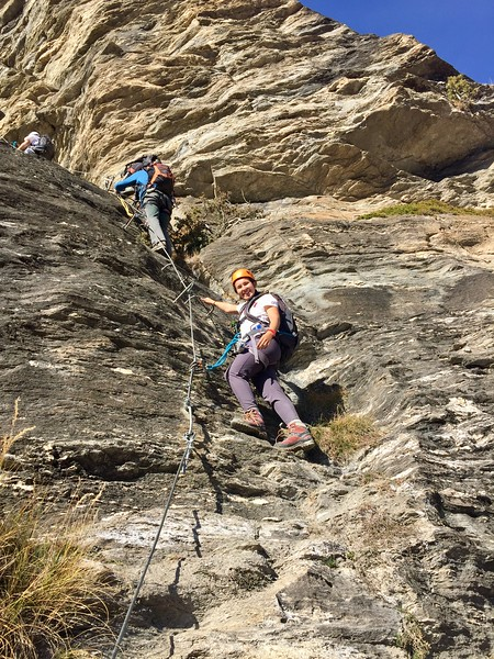 Flavia roped in on the via ferrata
