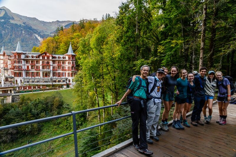 The Brienz hiking group at the Geissbach Falls