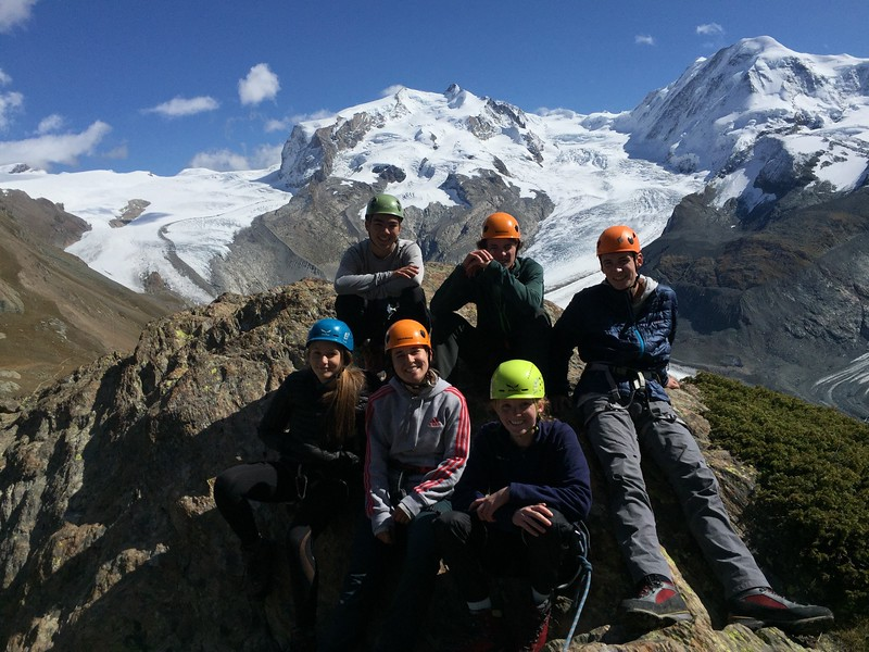Emma, Richie, Flavia, Charlie, Maggie, and Liam at the top of Riffelalp