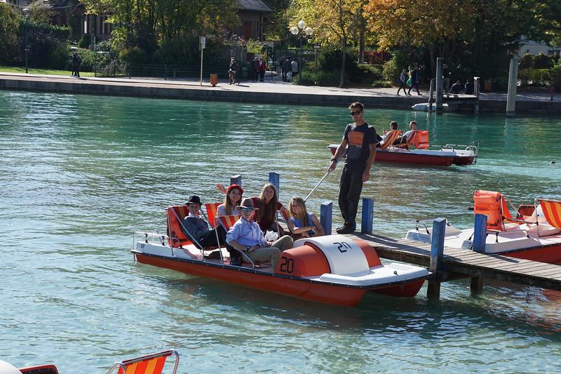 Spencer, Shea, Ellie, Ryan, and McAuley enjoying some paddle boating on Lake Annecy