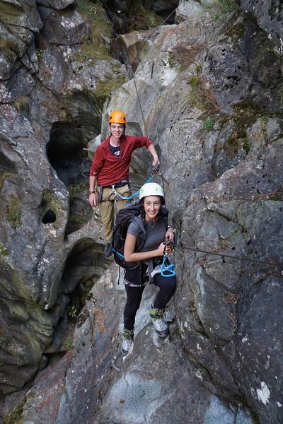 Ryan and Caroline in the gorge below Furi