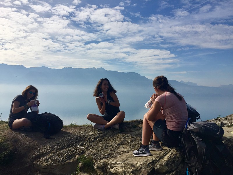 Celeste, Caroline, and Kalindi hanging out above Lac Leman (Lake Geneva)